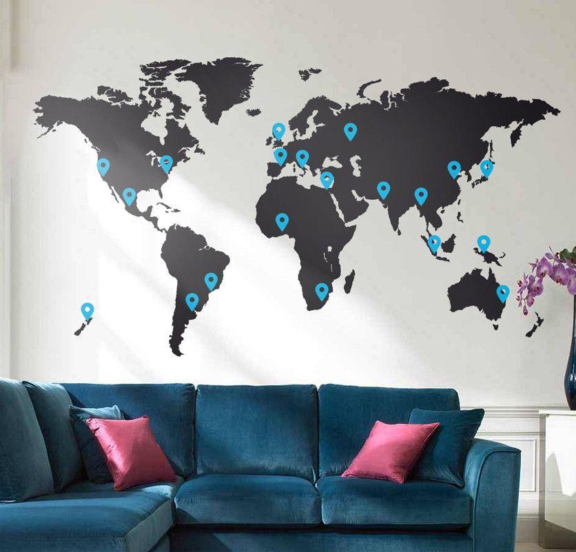 World map vinyl wall sticker vinyl wall stickers wall sticker and world map vinyl wall sticker gumiabroncs Images