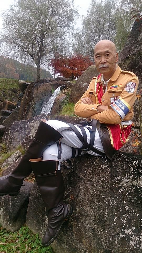 """""""Attack on Titan"""" cosplay by Tomoaki Kohguchi. I absolutely love that he's 64 and still dressing up and cosplaying. Rock on! :-D"""