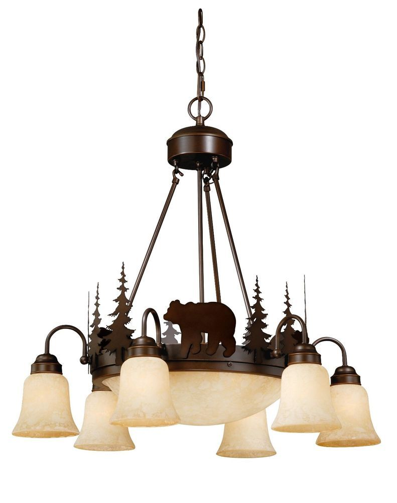 Bear Vaxcel Yellowstone Rustic Country Chandelier Bozeman Lodge Light Ch55706bbz
