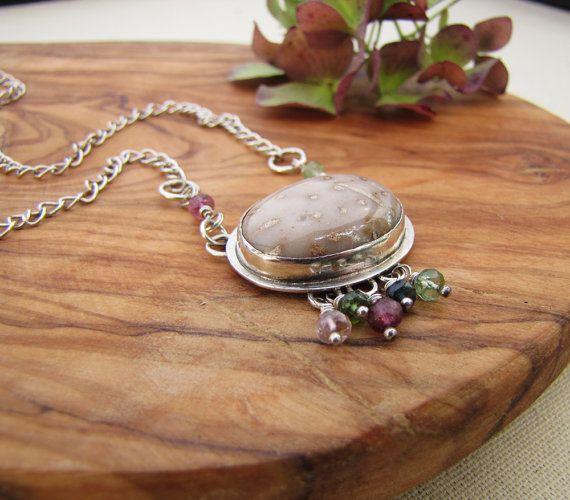 Petrified Palm Wood Necklace. Neutral Stone by sundownbeaddesigns, $150.00