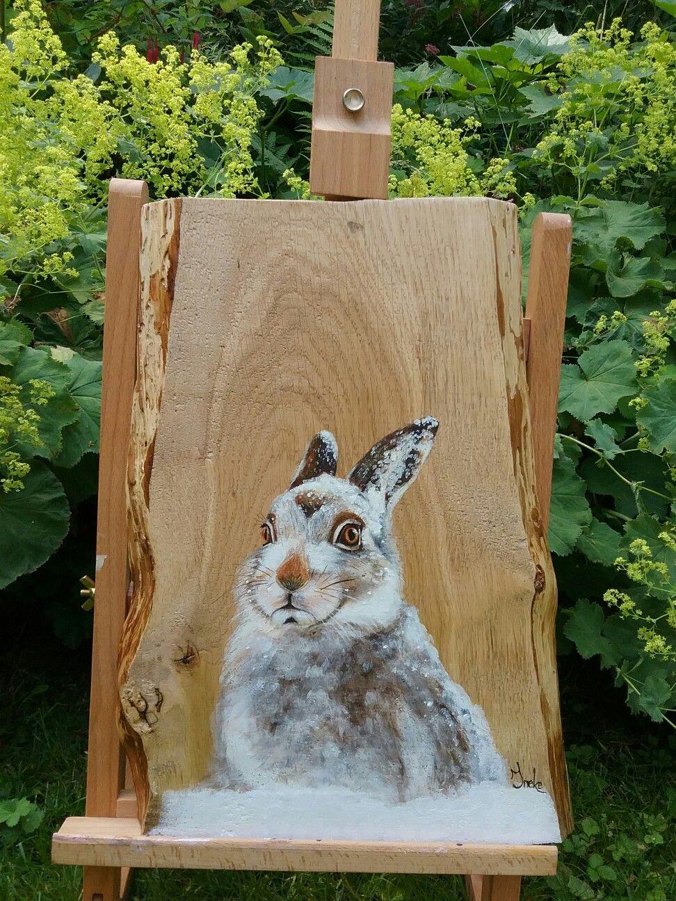 Winterhaas. Op beukenhout geschilderd door Ineke Nolles ...