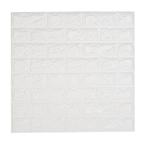 Fredhome 2362 x 2362 Inches 3D Brick PE Foam Wallpaper Soft Self Adhesive Wall Panels for TV Walls Sofa Background Home Office Wall Decor White 10 ** Learn more by visiting the image link.