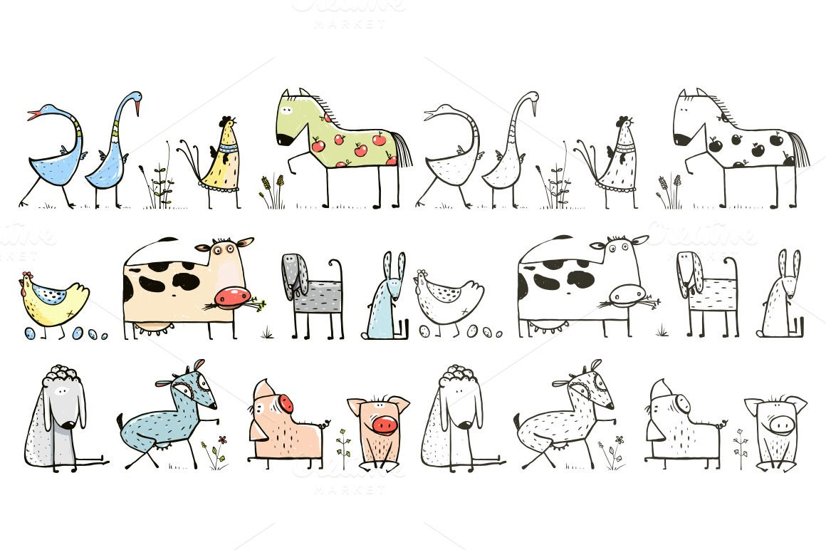 Funny Cartoon Farm Animals Set - Illustrations - 1 | Funny ...
