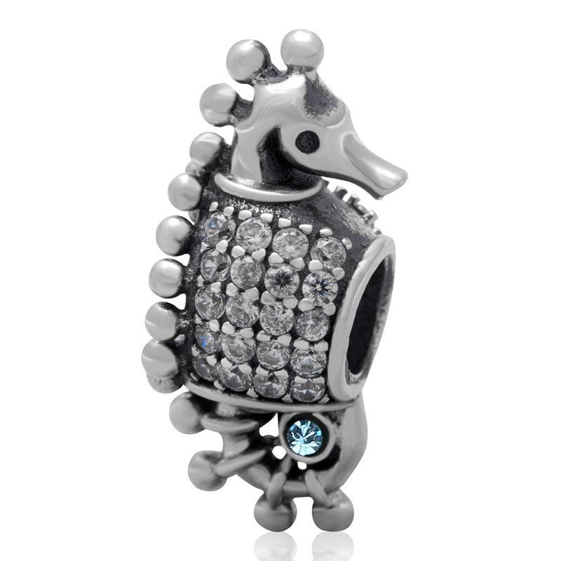 Seahorse European Style CZ and 925 Sterling Silver Bracelet Charm