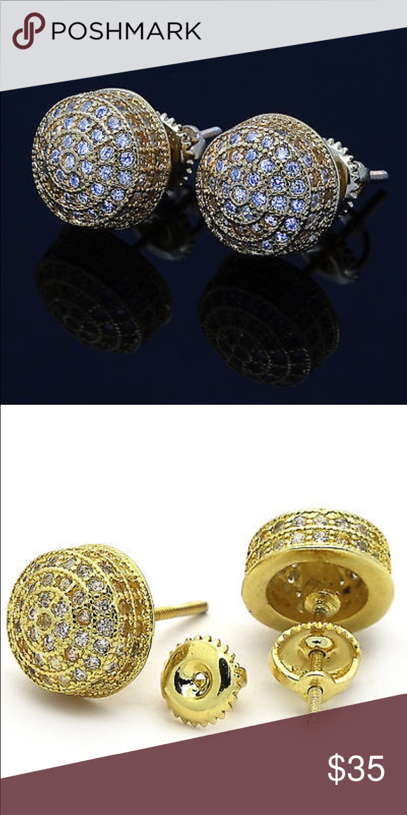 5b0b36241 Micropave Screw back Gold Round Men Earrings NEW BRAND NEW 10MM Mens Gold  ICED OUT Micropave Cz Earring Stud Round Screw Back Hip Hop Gem Color:  Clear ...