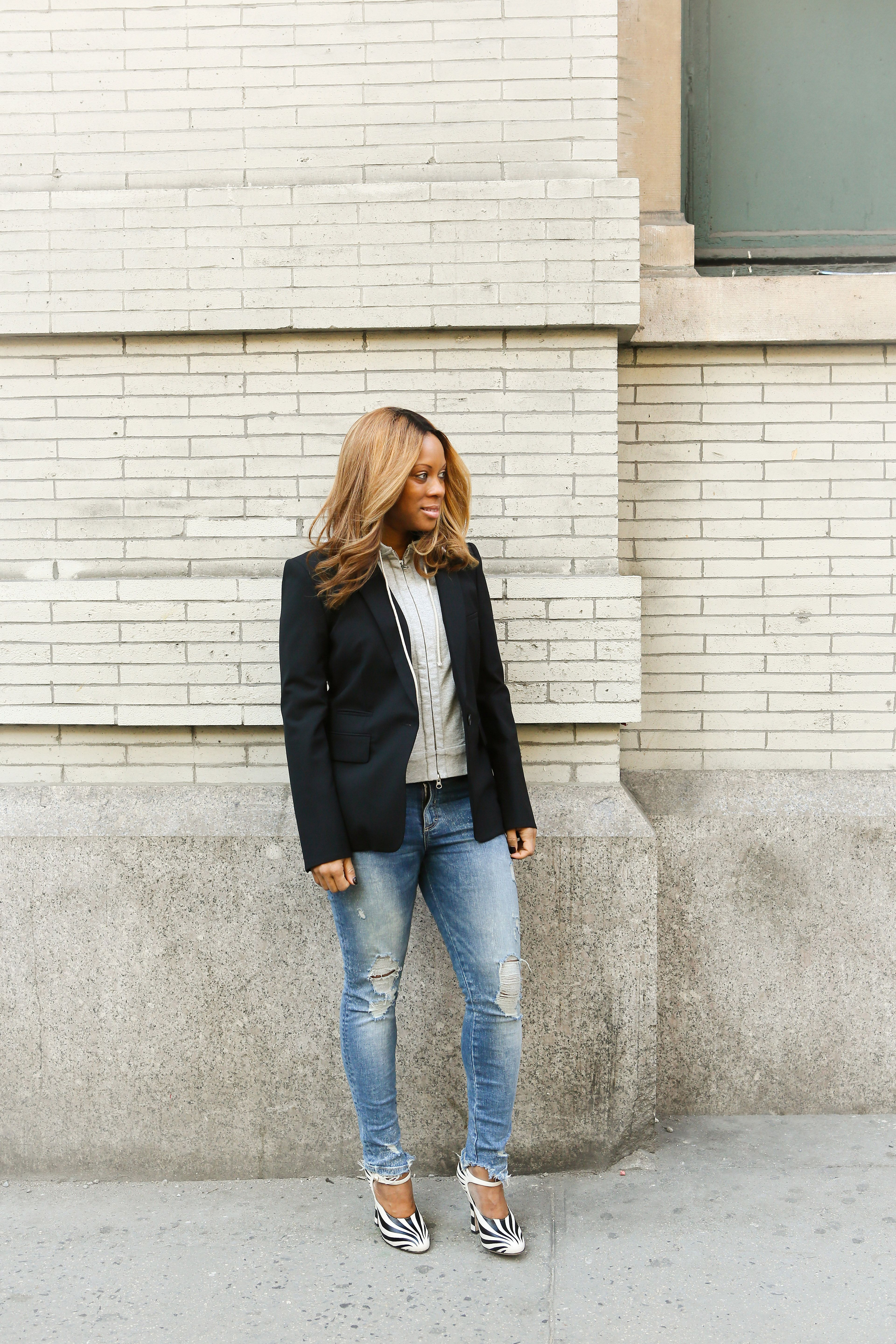 82e608672130d Stephanie Horton in Classic Jacket with Hoodie Dickey, Veronica Beard,  Street Style, Layered Look