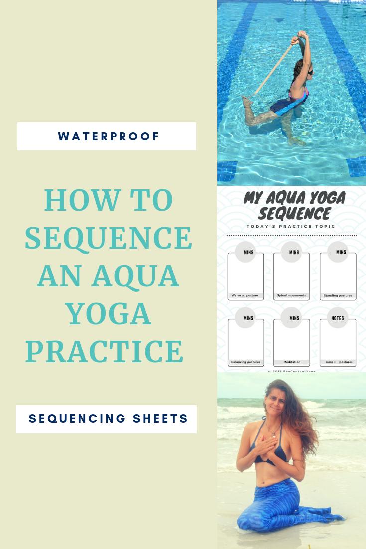Waterproof aqua yoga sequencing sheets  Yoga sequences, Water