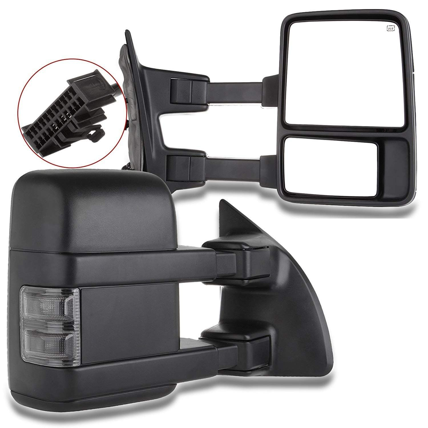 Scitoo Tow Mirrors Fit 1999 2016 Ford F250 F350 F450 F550 Super Duty Pickup Manual Led Smoke Signals Lamps View Mirror Pair Want Additi F250 F350 Ford F250