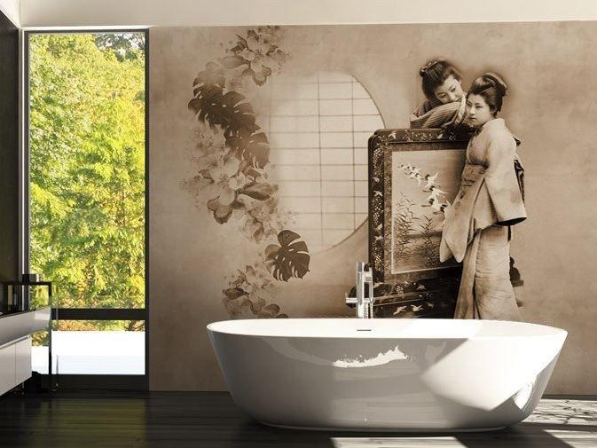 Salle de bain design et zen avec papier peint lavable en vinyle