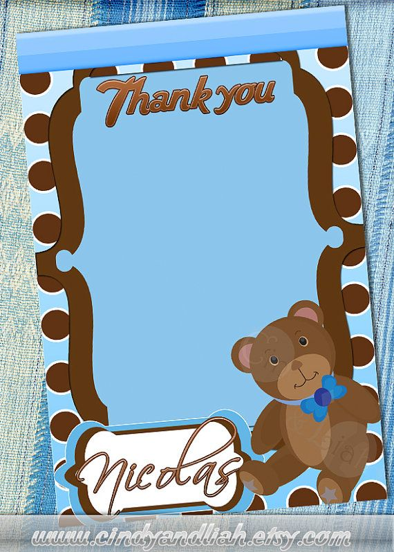 Blue And Brown Teddy Bear Birthday InvitationThank You Note Label Set