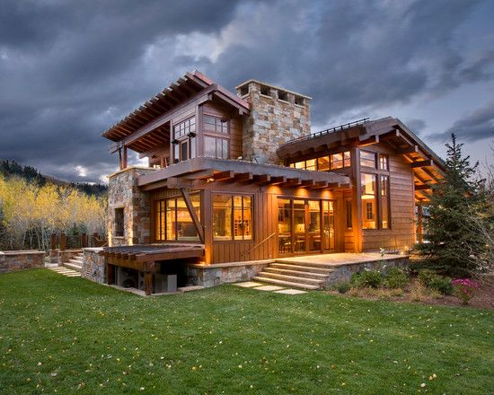 Brilliant Contemporary Rustic Home Design: Spacious Home Living Design Idea  With Green Lawn In Luxurious Design For Cherry House Exterior De.