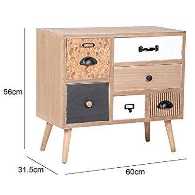 viva home commode en bois 60 x 31 5 x 56 cm meubles salon buffet ou salle manger avec 6. Black Bedroom Furniture Sets. Home Design Ideas