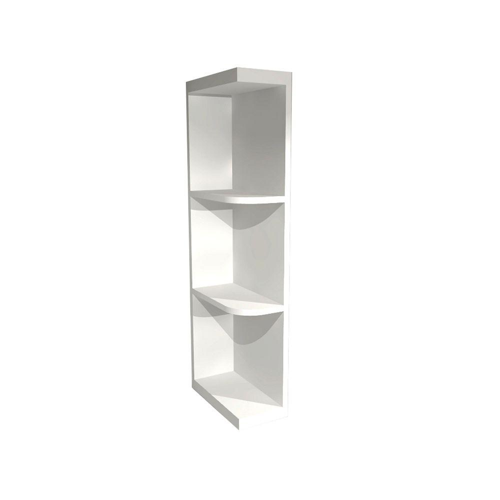 Newport Embled Wall End Open Shelf Cabinet In Pacific White