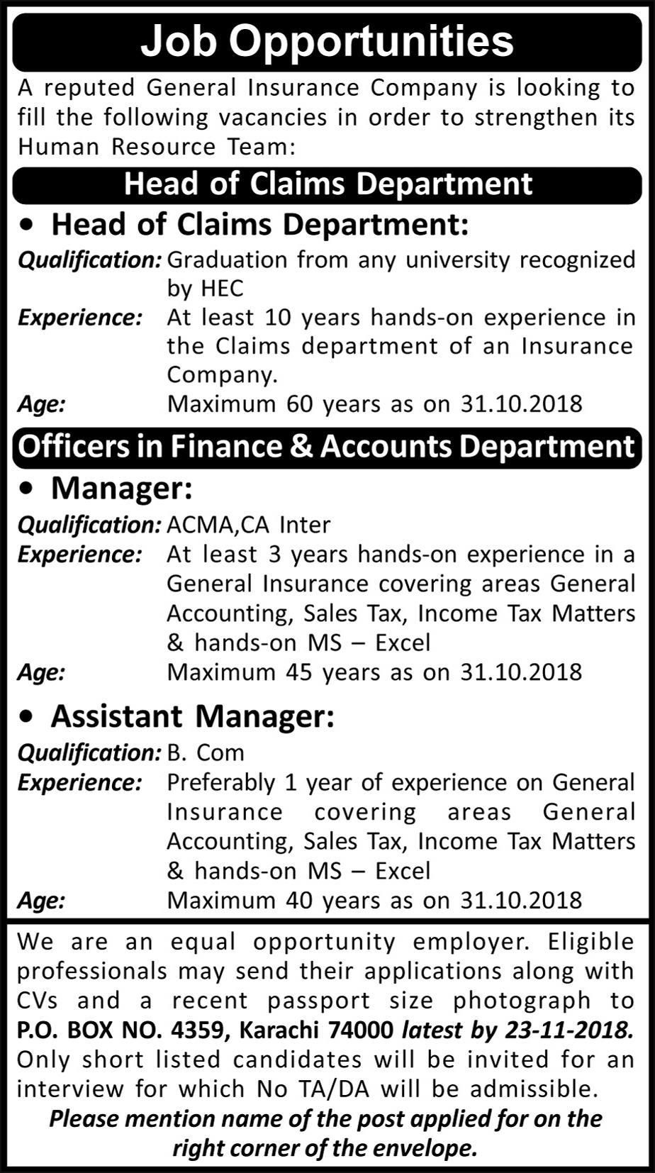 Sindh Jobs General Insurance Company Head Of Chief Cliam