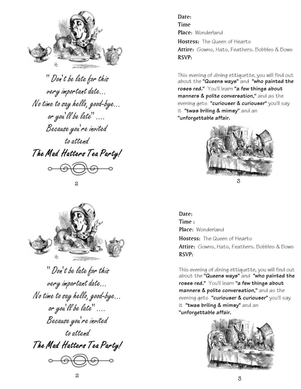 Alice In Wonderland Bookmark Template Page Showing Pic