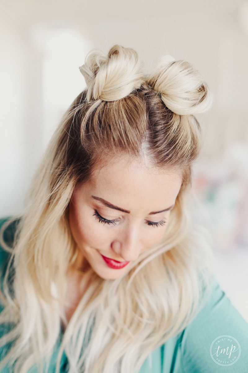How To Do Space Buns Twist Me Pretty Thick Hair Styles Short Hair Bun Ball Hairstyles