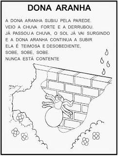 Educacao Infantil Cantigas Escritas E Ilustradas Para Pintar Em