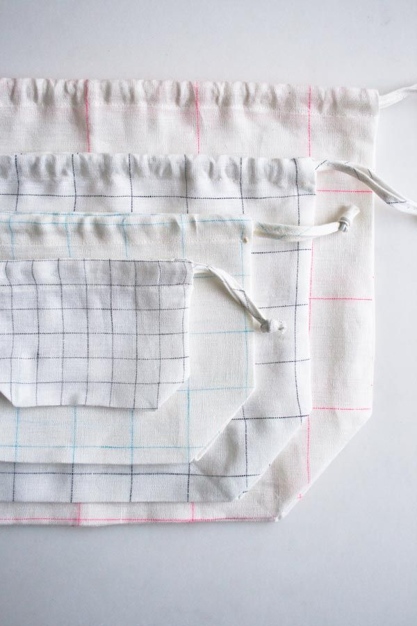Easy Drawstring Bags in Linen Grid | reciclaje | Pinterest | Coser ...