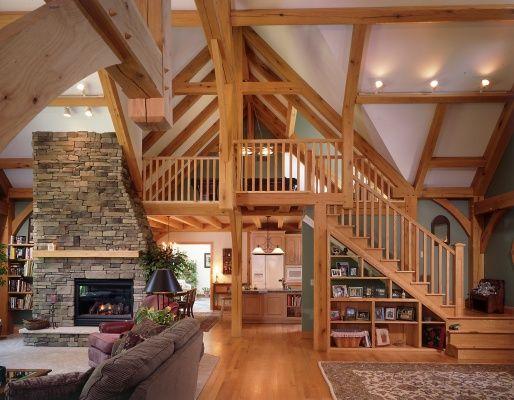 Wood framed vaulted ceilings, built in under-stair shelves ...