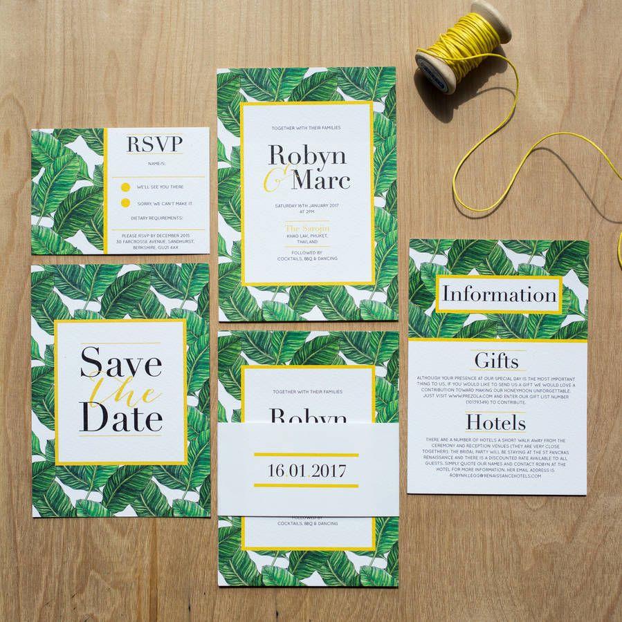 Tropical Banana Leaf Wedding Invitation | Invitation design ...