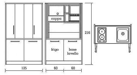Cucine monoblocco a scomparsa: armadio cucina da cm. 124