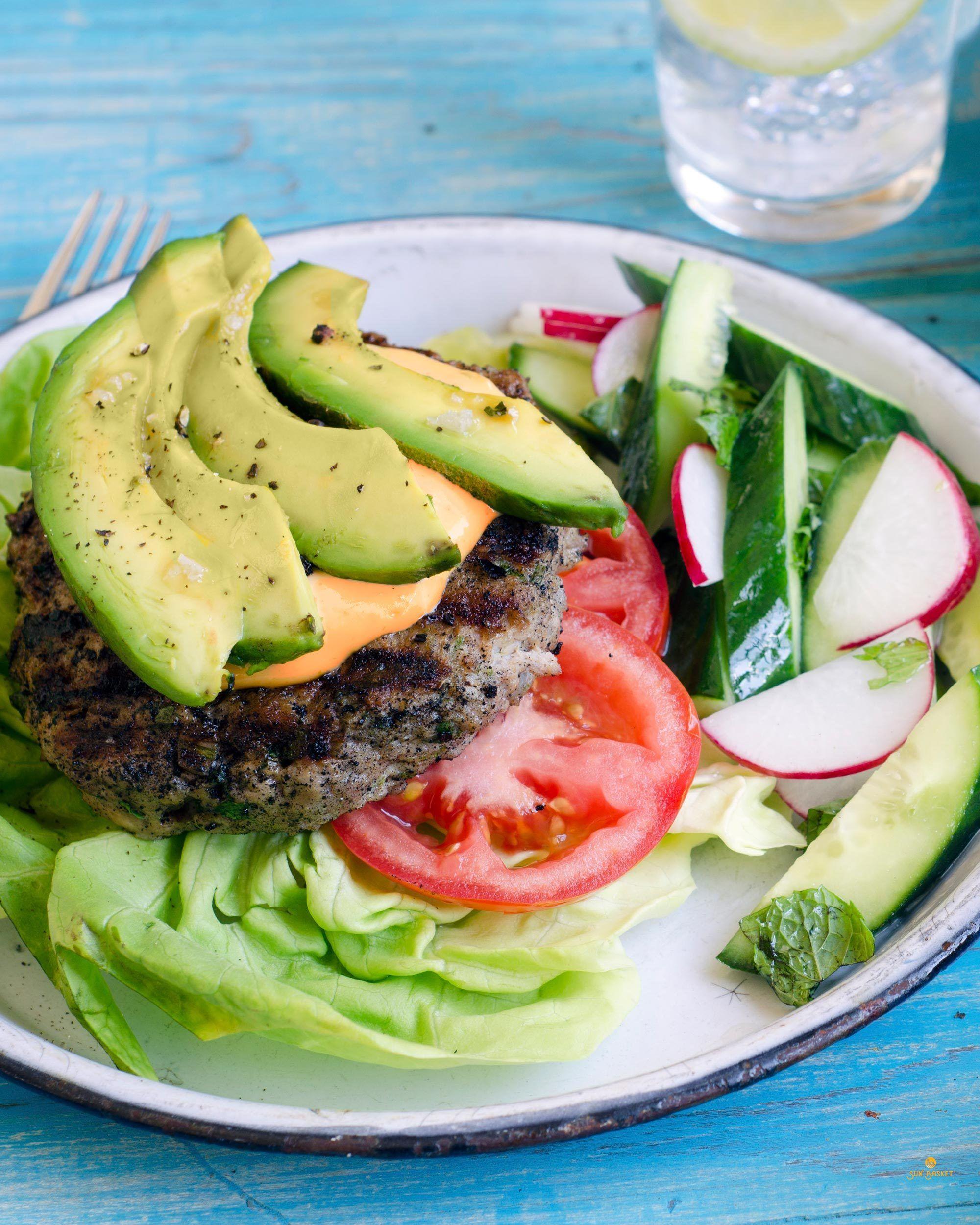 Lettuce Wrapped Turkey Burgers With Avocado And Sambal Mayo