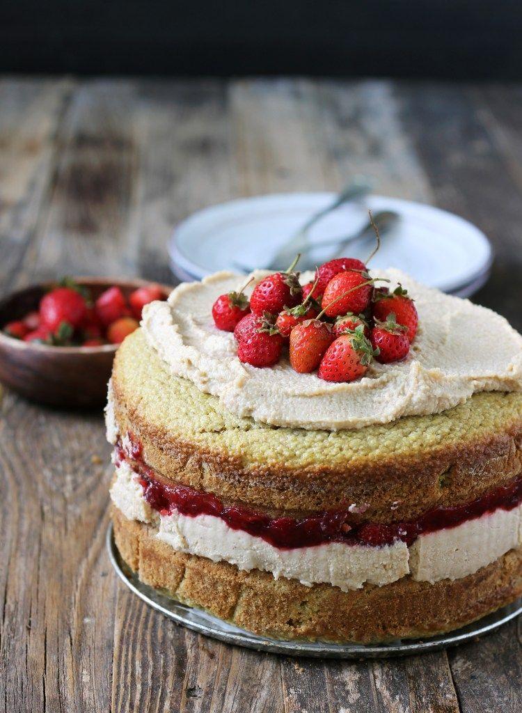 Fluffy Lemon Cake With Vegan Vanilla Cream And Strawberries Recipe Sugar Free Strawberry Jam Lemon Cake Vanilla Cream