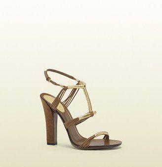 Anita Metallic Leather And Suede High Heel Sandal Gucci
