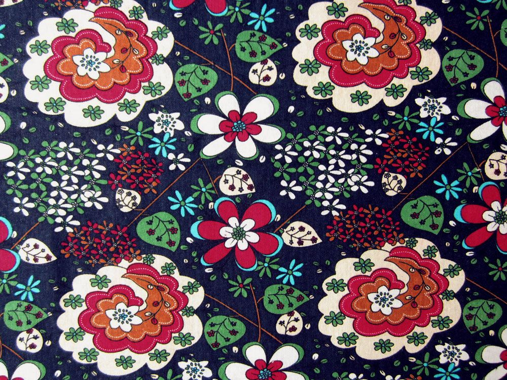 DA169 -Per Yard Red Lt. Blue Green Floral pattern on Dark Blue Cotton Blend Linen Fabric Light Material Cushion/Pillow/Covers/Curtain/Cases. $7.99, via Etsy.
