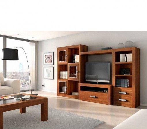 Muebles para el sal n madera maciza six navalmueble - Muebles de obra para salon ...