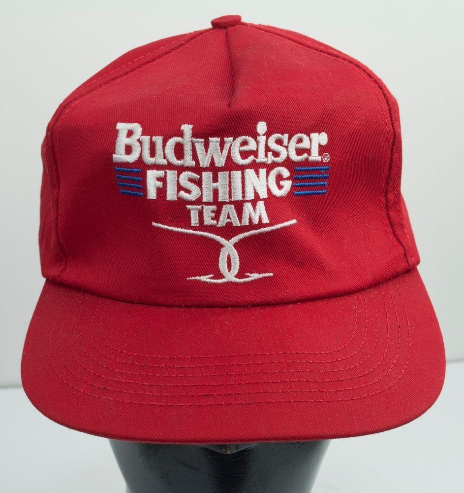 6d7f5d51a143e ... inexpensive budweiser fishing team trucker hat cap snapback bud  fisherman mens 1980s vintage budweiser trucker 74b0d
