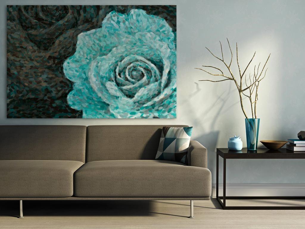 14101 Obraz Na Plotnie Turkusowy Kwiat 120x80 5337342134 Oficjalne Archiwum Allegro Painting Art Inspiration