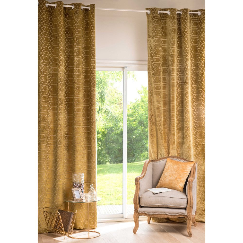 ZOLA graphic mustard yellow eyelet curtain 130 x 300 cm