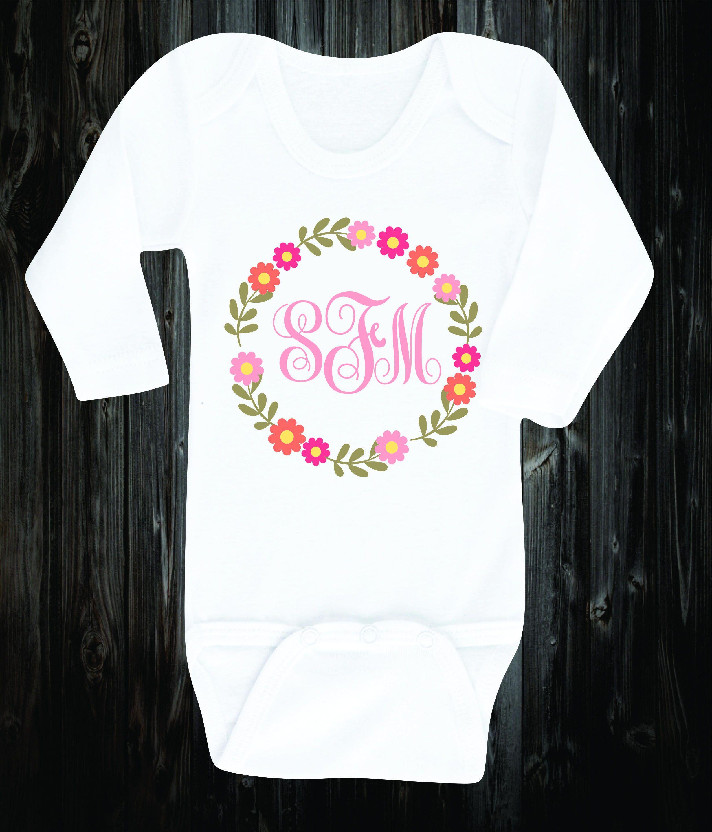 b28c1034c5eb6 Custom Monogram Baby Onesie Baby Girl Outfit Baby Shirt Personalized ...