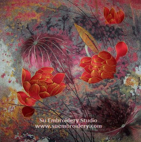 Silk embroidery painting, all hand embroidered with silk threads on silk from Su Embroidery Studio, Suzhou China.
