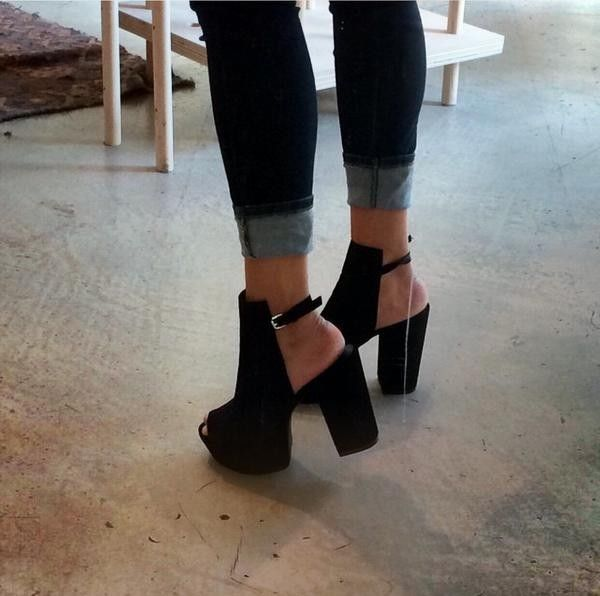 platforms black open toe chunkey Boots - black open toe wedge ...