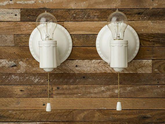 Vintage Rewired Porcelier Porcelain Ceramic Wall Lights Fixtures