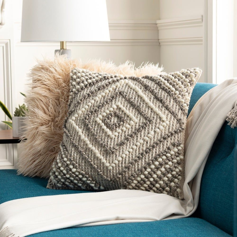 Fiora Boho Diamond Wool 22-inch Throw Pillow Cover (Cream), Ivory(Cotton, Embroidered)