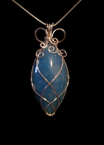 Blue Dragon Vein Agate Cabochon Handmade Wire Wrapped Pendant ...