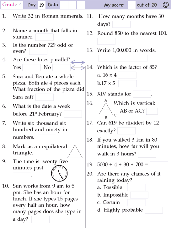 Mental Math Grade 4 Day 19 4th Grade Math Worksheets Mental Maths Worksheets Learning Math