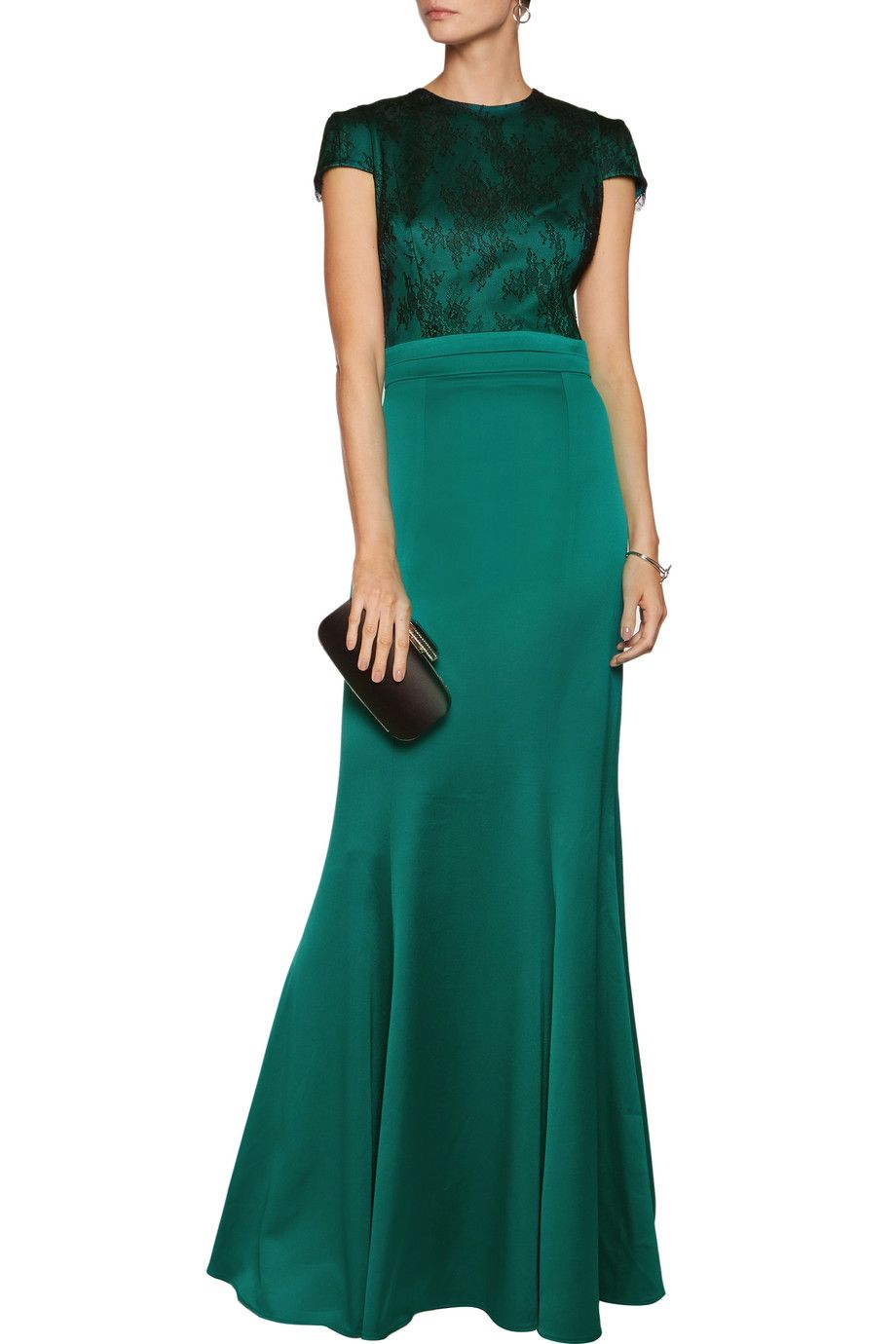 Shop on-sale Safiyaa Lace-paneled satin gown. Browse other discount ...