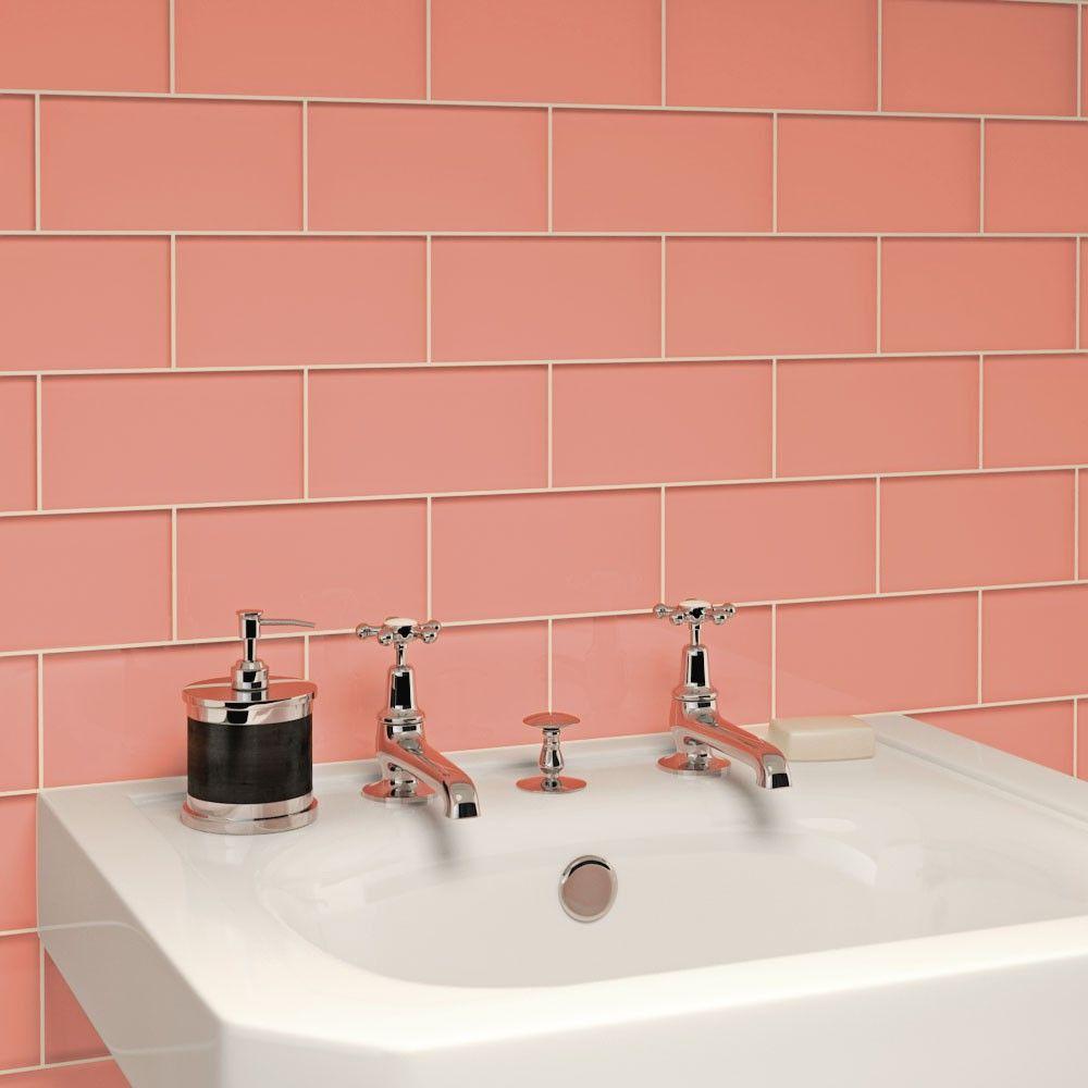 Coral Colored Bathroom Tile.