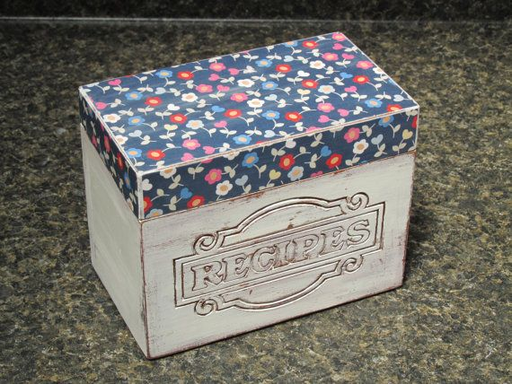 1970s Hardwood Recipe Box Hand Painted White Recipe by Eweniques, $45.00