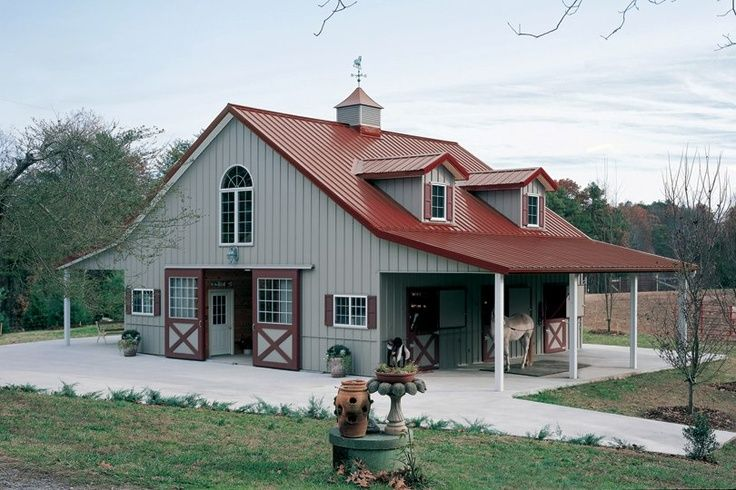 Metal barns with living quarters bing images build it for Pre built barn homes