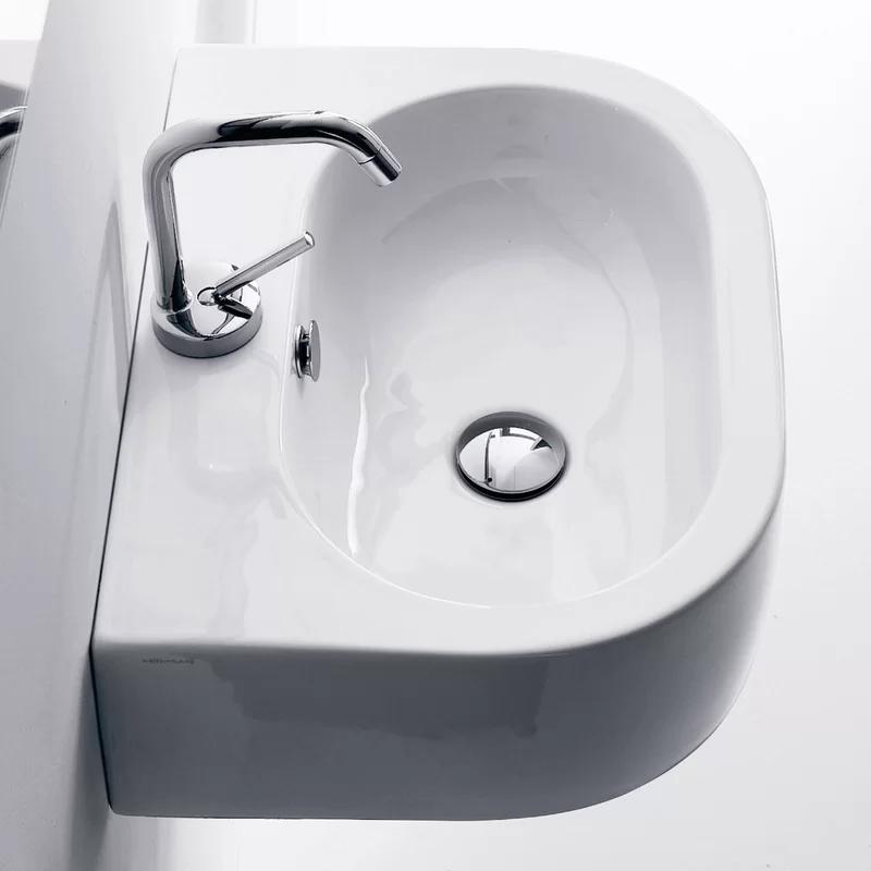 Flo Ceramic Ceramic U Shaped Vessel Bathroom Sink With Overflow In 2020 Bathroom Sink Wall Mounted Bathroom Sinks Sink
