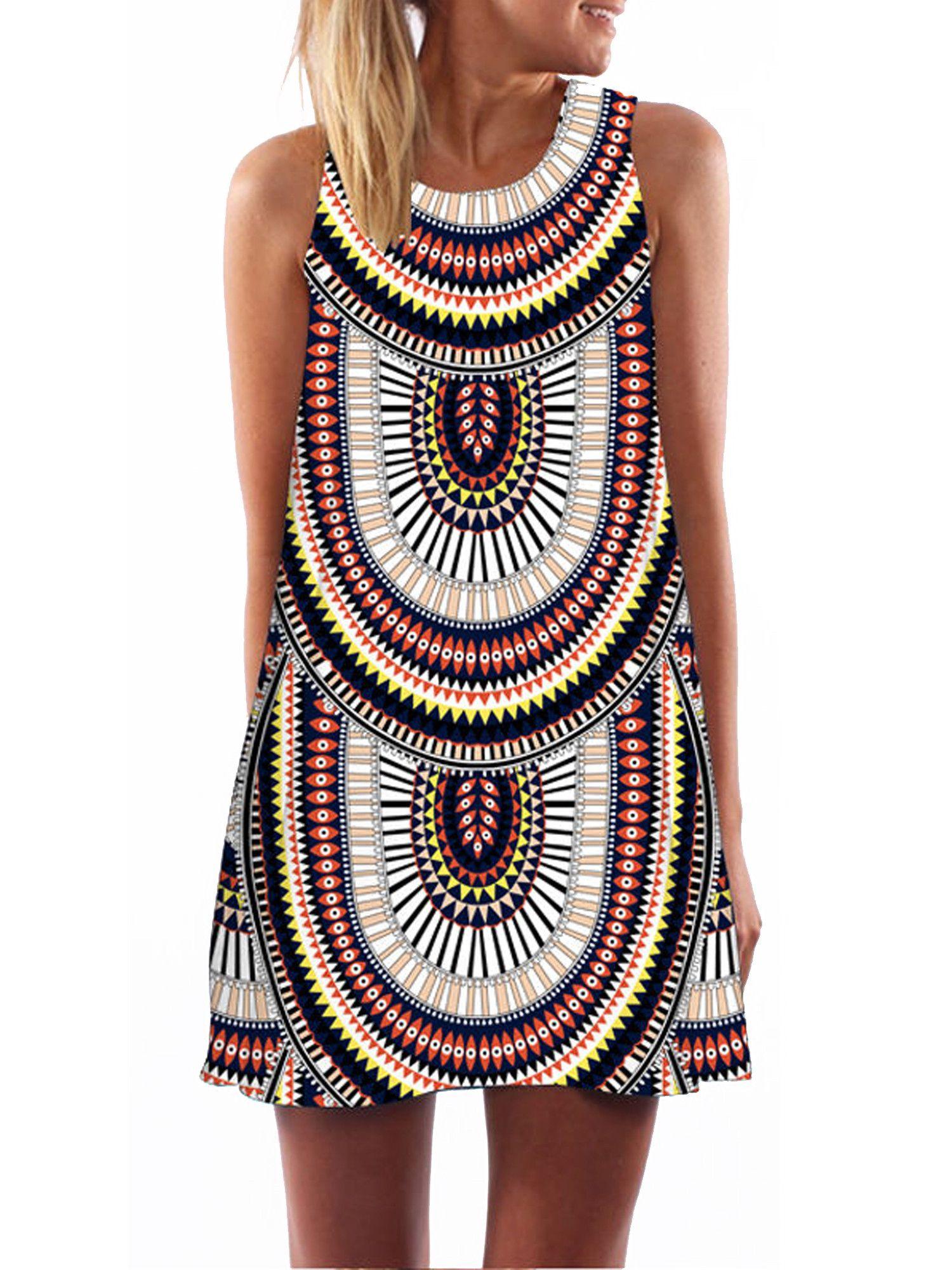 Focusnorm Focusnorm Womens Boho Summer Casual T Shirt Dresses Beach Cover Up Plain Tank Dress Tunic Top Sleeveless Mini Dress Mini Dress Sleeveless Dresses Casual [ 2000 x 1500 Pixel ]