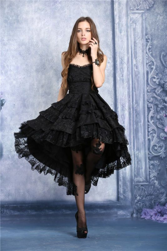 06140a57d288 Dark in Love Black Gothic Victorian Floral Lace Corset Dovetail Noble Dress