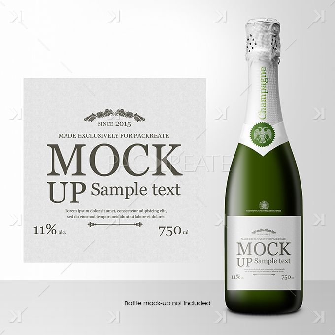 Champagne Bottle Label PSD Template | Дизайн | Pinterest | Champagne ...