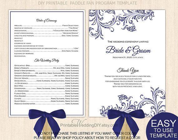 navy blue filigree fan program template by printableweddingdiy