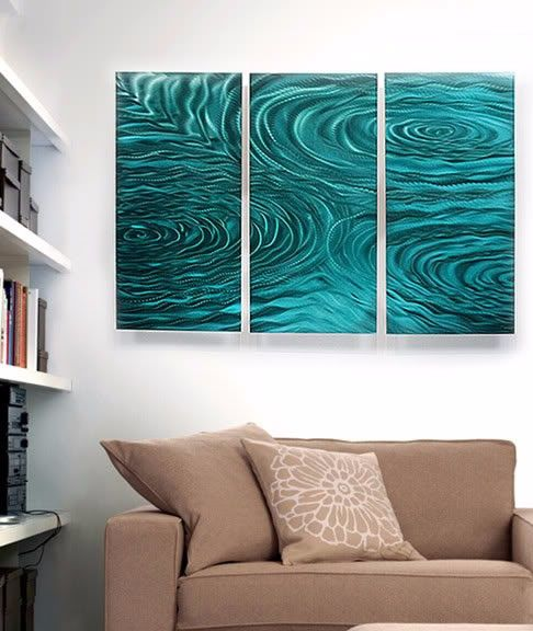 Modern abstract painting metal wall art sculpture teal liquid ambiance interior designing nature inspired